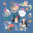 The set of cute, beautiful mermaids in floral, flowers wreaths, bouquets, tied bow and seashell, jellyfish, crab and starfish