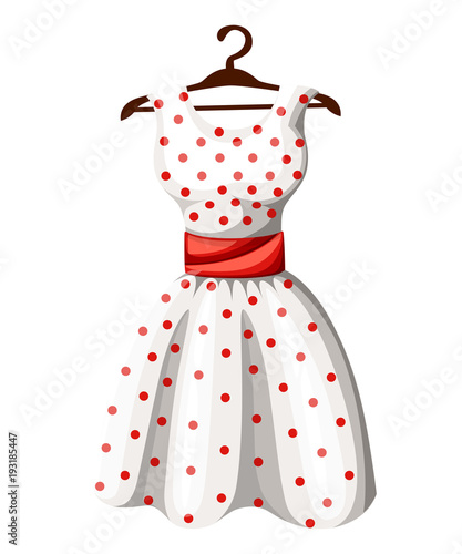 Polka dot dress white dress in red dotted with red belt hanging on wooden hanger vector illustration isolated on white background web site page and mobile app design © Alfmaler
