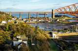 A view from the east footpath of the Forth Road Bridge, looking over North Queensferry towords the old and famous Rail Bridge. - 193186880