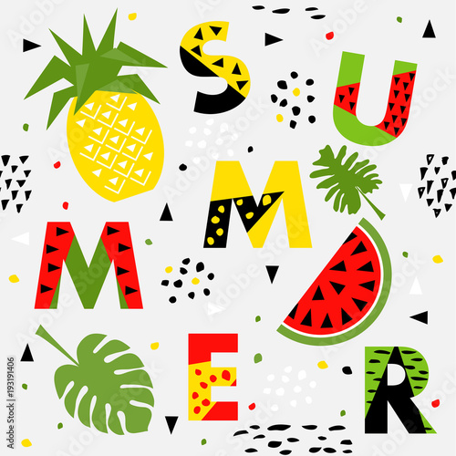 Trendy seamless, Memphis style watermelon and pineapple geometric pattern, vector - 193191406