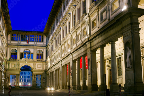 Fotobehang Florence Uffizi Gallery at Night, Florence, Italy
