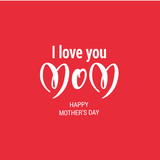 Red Mothers Day holiday card
