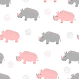 Seamless pattern with cute rhinoceros. Vector childish background for kids design. - 193200421