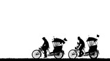 Silhouette Old Man Ride Tricycle  Wall Sticker