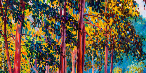 Oil painting landscape on canvas - autumn trees