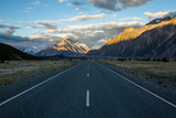 Sunset on the road to Tasman Glacier in the Southern Alps of New Zealand's South Island - 193214825
