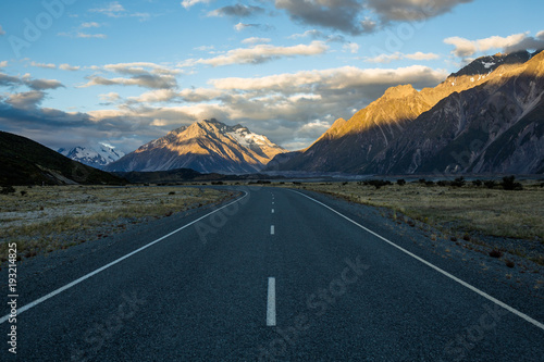 Sunset on the road to Tasman Glacier in the Southern Alps of New Zealand's South Poster