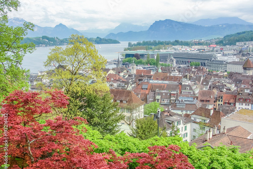 Lucerne lake and view of Lucerne medieval town in Switzerland Poster