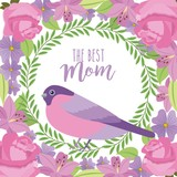 the best mom cute bird wreath floral flowers border decoration vector illustration - 193234635