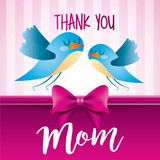 thank you mom birds pink stripes background icon vector ilustration - 193237045
