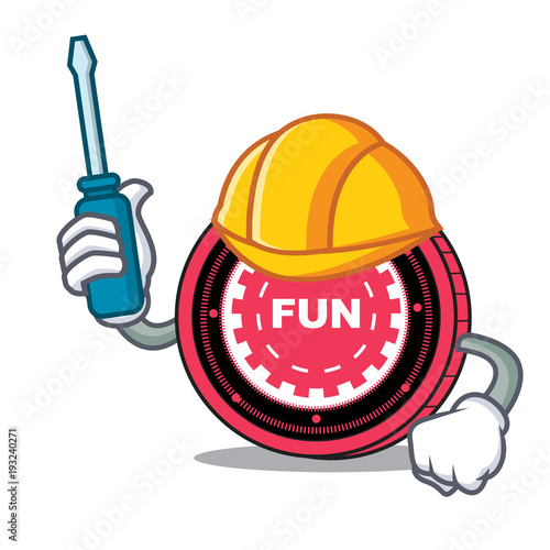 Automotive FunFair coin mascot cartoon