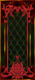 Tiffany's colorful and detailed stained glass window in blood red shades in a luxurious gold frame. Art Nouveau or modern style, floral motifs, a Panel of stained glass in a door or window, vector - 193242896