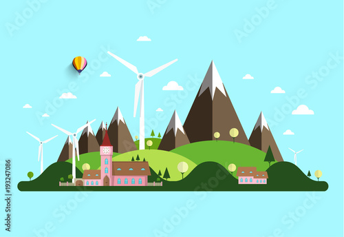 Staande foto Lichtblauw Vector Rural Landscape with Windmills, Hills and Castle.