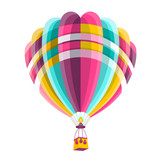 Hot Air Balloon Isolated on White Background. Vector Icon.