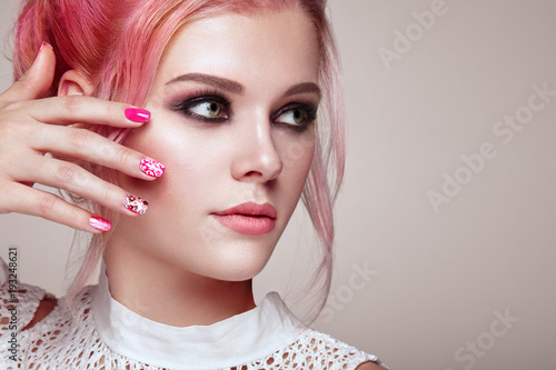 Poster Manicure Blonde Girl with Elegant and shiny Hairstyle. Beautiful Model Woman with Curly Hairstyle. Care and Beauty Hair products. Nails and Manicure