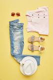 Flat Lay Shot Of Female Summer Clothing - 193252698