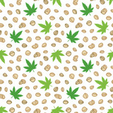 Doodle, hand drawn hemp seeds and leaves, trendy superfood seamless pattern background. - 193253851