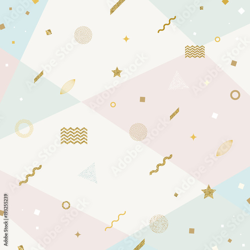 Vector abstract avangarde retro background with glitter gold geometric shapes