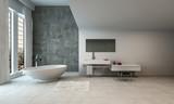 Minimalistic, luxury open bathroom and bathtub - 193260049