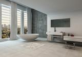Contemporary bathroom with city views - 193260059