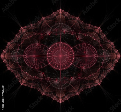 Dark purple fractal mandala on black background - 193263247