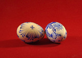 Painted easter eggs with traditional folk ornament on a red background - home made - 193268205