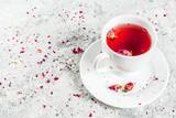 Arab, middle eastern food. Herbal tea with rose buds, copy space - 193268816