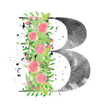 B letter made with watercolor flowers and leaves