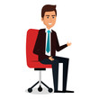businessman in chair workplace character vector illustration design