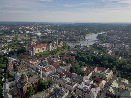 Fotobehang Krakau Aerial of the Royal Wawel castle and Krakow Old Town