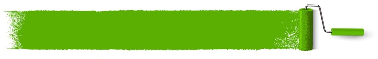 Anstrich grüne Fläche mit Farbroller - Banner