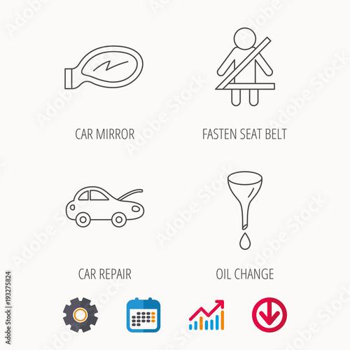 Poster Car mirror repair, oil change and seat belt.