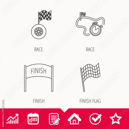 Foto op Canvas F1 Finish flag, race timer and wheel icons.
