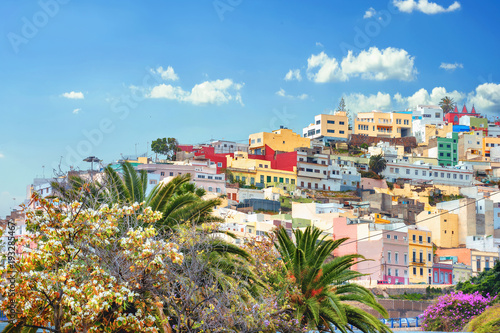 Fotobehang Canarische Eilanden Cityscape with colorful houses in residential district of Las Palmas. Gran Canaria, Spain