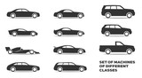 set of simple icons for cars of different classes