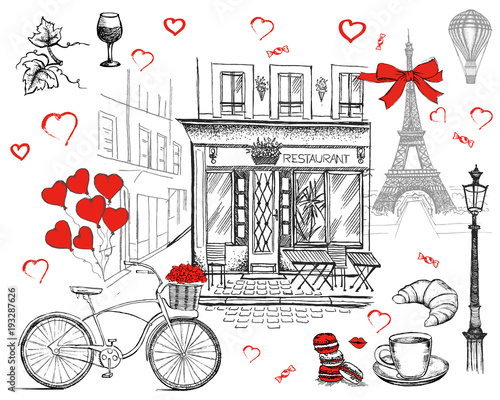 Wall mural Set of hand drawn French icons, Paris sketch illustration