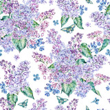 Watercolor spring lilac seamless pattern - 193289824