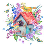 Watercolor illustration with birdhouse and birds - 193292613