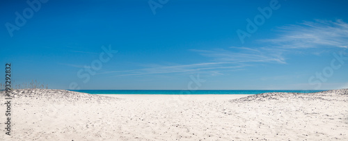Panorama beach, sand, water, sky in Florida, background. Pretty view of the turquoise sea - 193292832