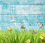 Idyllic spring meadow with butterflies with old wooden planks on background.
