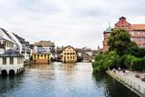 STRASBOURG, FRANCE - June 17, 2017 : Street view of Traditional houses in La Petite France, Strasbourg, Alsace, France - 193295635