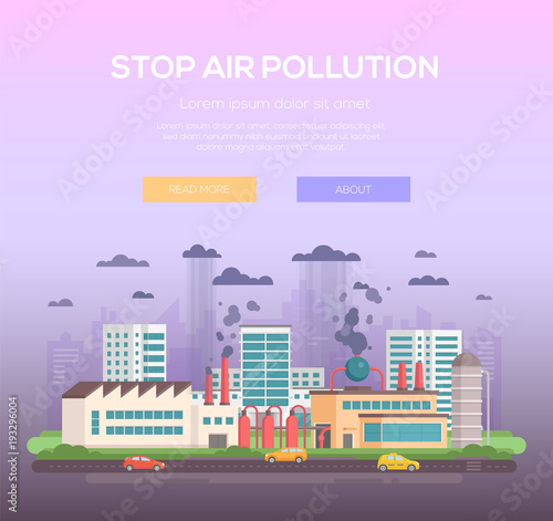 Aluminium Purper Stop air pollution - modern flat design style vector illustration