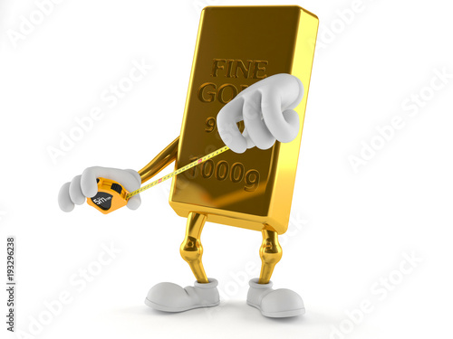 Gold character holding measuring tape