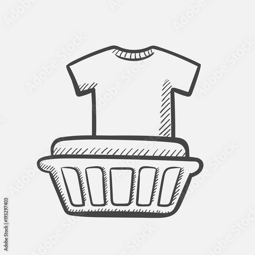Vector hand drawn Basket with laundry outline doodle icon. Basket with laundry sketch illustration for print, web, mobile and infographics isolated on white background.