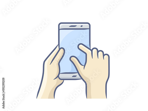 Hand holding smartphone, finger touching screen. Vector