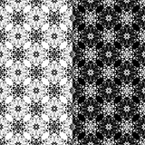 Black and white floral ornaments. Set of seamless backgrounds - 193299827