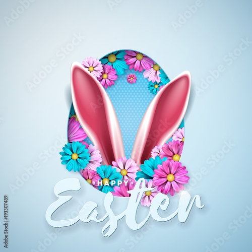 Vector Illustration of Happy Easter Holiday with Spring Flower in Nice Rabbit Face Silhouette on Light Blue Background. International Celebration Design with Typography Letter for Greeting Card, Party - 193307489
