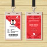Red Geometric Employee ID Card Design Template - 193307877
