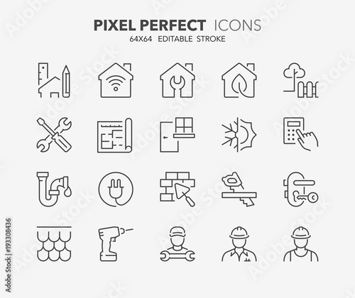 home renovation thin line icons - 193308436