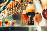 Hand of bartender pouring a large lager beer in tap. - 193316614